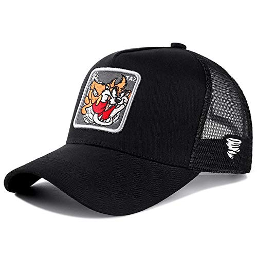 Gorra de béisbol de algodón Snapback Hombres y Mujeres, Gorra de Camionero de Malla de papá Hip Hop-Taz Black