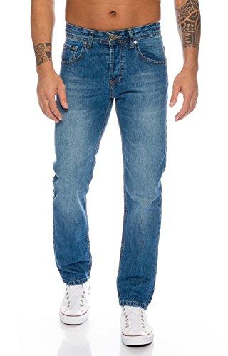 Lorenzo Loren Herren Jeans Hose Denim Jeans Used-Look Regular-Fit [LL327 - Hellblau - W38 L36]
