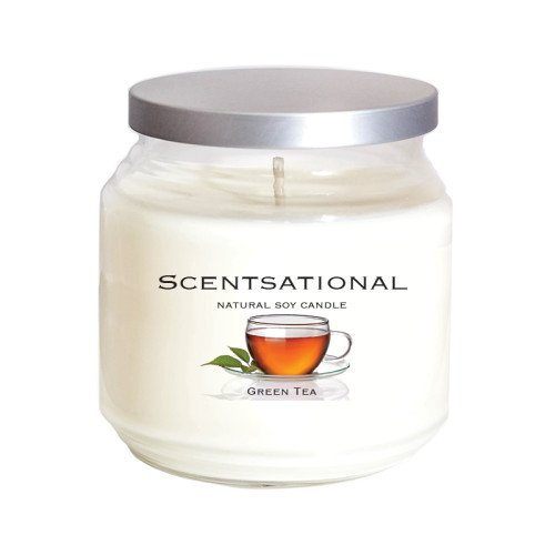 Scentsational Natural Soy Candle Green Tea Scent in Jar with Lid, 19 oz.