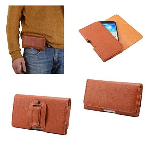 DFV mobile - Case Synthetic Leather Horizontal Belt Clip Compatibile con PRESTIGIO MULTIPHONE 7600 Duo - Brown