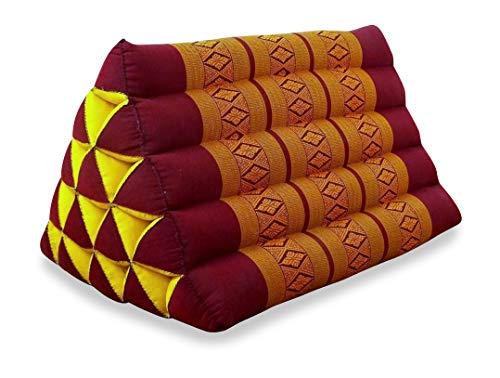 livasia Großes Dreieckskissen als Rückenstützkissen, Thaikissen BZW. Keilkissen, Nackenkissen für das Bett (rot/gelb)