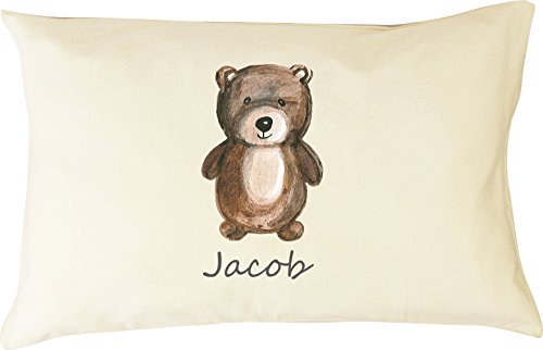 DorDor & GorGor Personalized Toddler Pillow with Watercolor Pillowcase, Ultra Soft Organic Cotton, Giftable Box, 13 X 18 inches, Brown Bear