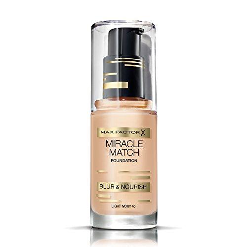 Max Factor Miracle Match Foundation Light Ivory 40 – Flüssig Foundation mit Weichzeichner-Effekt – Passt sich jedem Hautton an – 1 x 30 ml