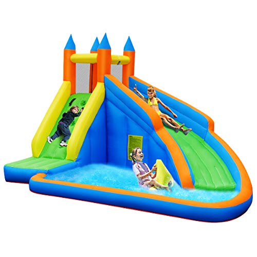 GYMAX Inflatable House Bouncer, Jumping Bouncer with Water Slide, Climbing Wall & Splash Pool, Easy Installation Heavy Duty Water Slide with Carry Bag, Gift for Kids (Climbing Wall+Slide)
