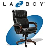 La-Z-Boy Trafford Big and Tall Executive Office Chair with AIR Technology, High Back Ergonomic Lumbar Support, Black Bonded Leather