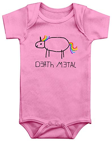 Death Metal Unisex Body rosa 62/68 100% Baumwolle Einhorn, Funartikel, Musik, Tiere & Haustiere