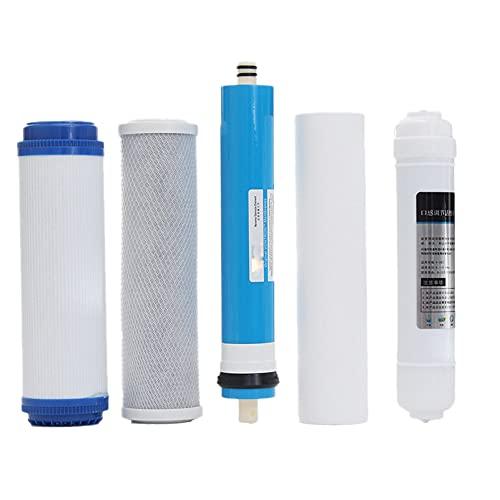 QWERTOUR 5pcs 5 etapas de Filtro de ósmosis inversa del Filtro de reemplazo de los Equipos de Cartuchos del purificador de Agua con un Kit de Filtro de Agua de Membrana de 50 GPD