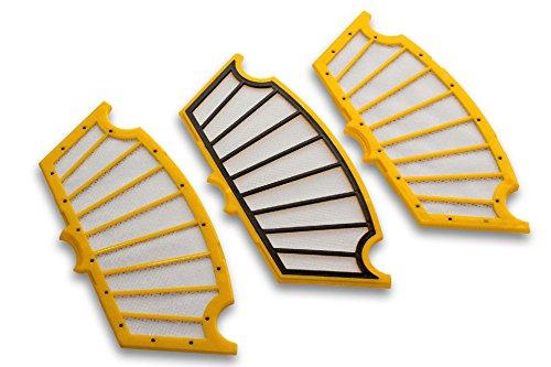 vhbw Ersatz Filter Set gelb-schwarz 3 Stück passend für iRobot Roomba 550, 555, 560, 562, 563, 564, 565, 570, 580, 581, 585, 590