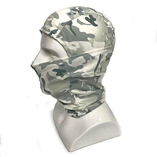 WorldShopping4U Ninja Hood Camouflage Balaclava Tactical Airsoft Outdoor Caccia Flessibile Full Face Mask Protettiva (Snow Camo)