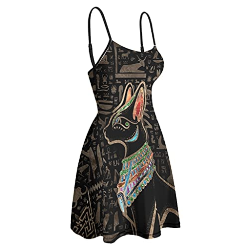 kikomia Vestido de columpio para mujer, tirantes finos, ajustable, diosa egipcia de gato, estampado de manualidades, sin mangas blanco XXL