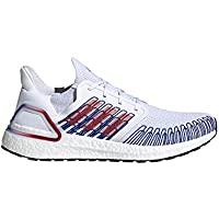 Adidas Men's Ultraboost 20 Running Shoes (White/Scarlet/Team Royal Blue)