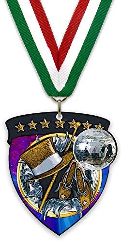 Unbekannt Großes Medaillon/Magnet aus Metall – Tanz – aus Stahl in Schwarz – mit Band zur Auswahl und Rückseite mit einem starken Magnet, Grün - Weiß - Rot