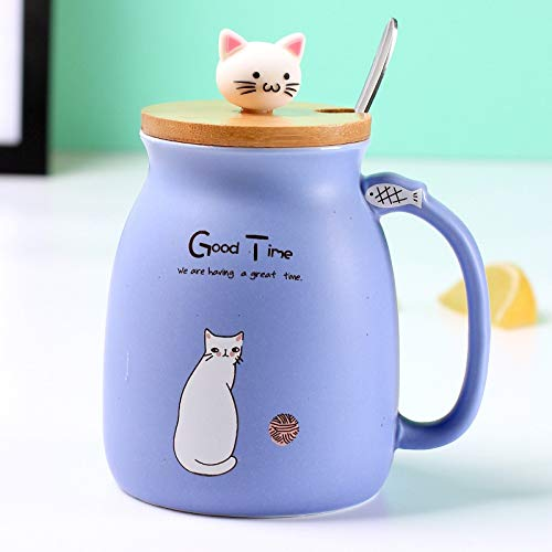 SYNGL Taza de cerámica con diseño de gato sésamo resistente al calor de color de dibujos animados con tapa, taza de café y leche para niños