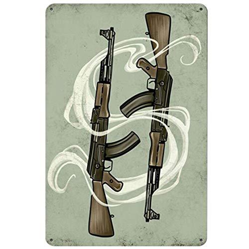 ayingzhenxiao Retro Arma Armas de Fuego Cartel de Chapa Inicio Bar Garaje Art Deco Cartel de Metal 20x30cm ZLF042