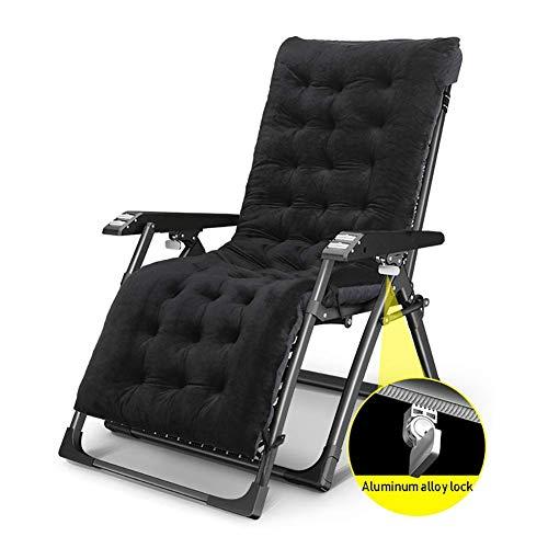 GCZZYMX - Tumbona reclinable de jardín de textolina, para camping, silla de gran tamaño de gravedad cero para personas pesadas, soporte de 350 libras, almohadilla gruesa