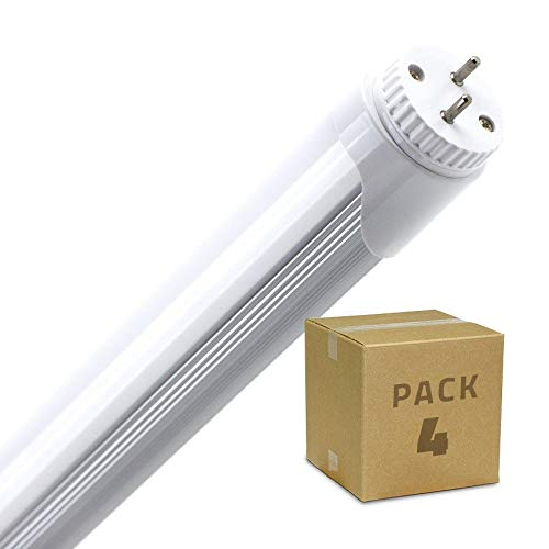 Pack Tubo LED T8 1200mm Conexión un Lateral 18W (4 un) Blanco Frío 6000K - 6500K