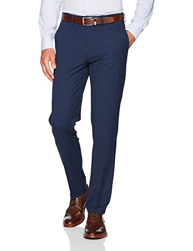 Haggar Men's J.M. Stretch Superflex Waist Slim Fit Flat Front Dress Pant, Blue, 36Wx32L