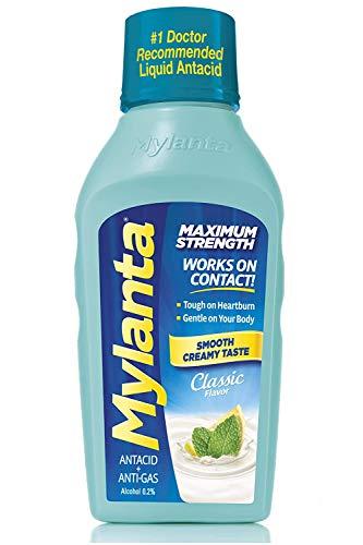 Mylanta Antiácido/Anti-gas Líquido, fórmula de máxima fuerza, sabor clásico, 12 onzas de fluido