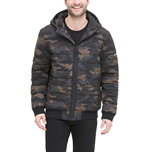 DKNY Men's Quilted Performance Hooded Bomber Jacket, Camouflage Matte Stretch, Large