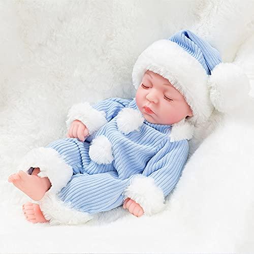 XXBJFMY Bebes Reborn Silicona Blanda, Simulación Reborn Baby Doll, Realista Reborn Doll para Niños Pequeños Regalos,Azul,A