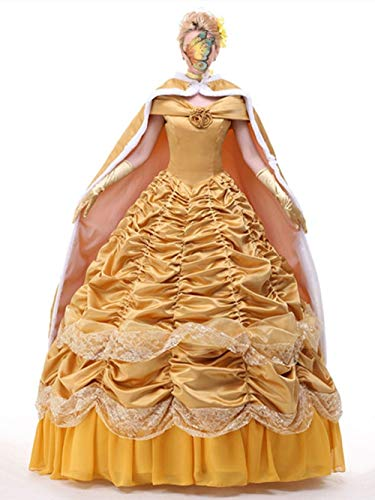 Beauty and The Beast Princess Belle Cosplay Costume Dancing Party Dress Skirt Cloak Christmas Halloween Costumes (Customized, Skirt+Cloak)