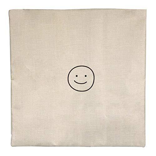 DKE&YMQ Funda de almohada de lino individual, diseo de emoticono sonriente en blanco y negro