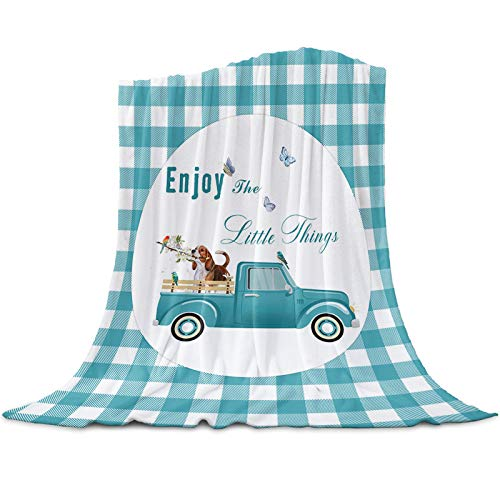 Cute Dog Throw Blankets Extra Soft Lightweight Flannel Fleece Blanket Truck Carry Beagle with Butterfly Dog Aqua Plaid Decorative Bedding Warm and Cozy All Season Use Cover for Bed/Couch Microfiber