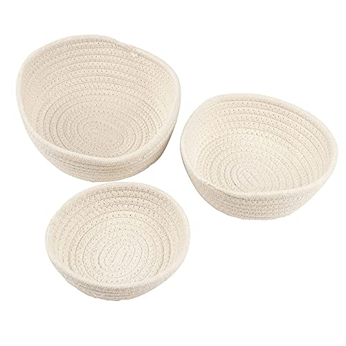 Woven Storage Baskets - 3-Pack Cotton Rope Baskets, Decorative Hampers, Collapsible Rope Storage Bins for Toys, Towels, Blankets, Nursery, Kids Room, 3 Sizes, White