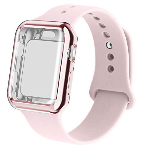 RUOQINI Smartwatch Band with Case Compatiable for Apple Watch Band, Silicone Sport Band and TPU Case for Series 4/3/2/1,Pink Sand Band with Rose Pink Case in 38SM Size