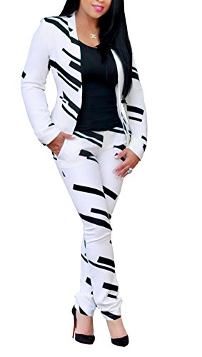 Evesymil Women Lapel Collar Long Sleeve Stripe Top Jacket Pants 2 Piece Suit Set Outfits XL,14/16,White