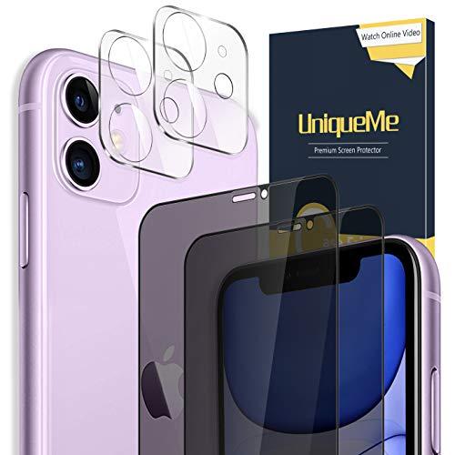 UniqueMe [2 Pack Intimidad Protector de Pantalla para iPhone 11 6.1 Pulgadas + [2 Pack] Protector de Lente de cámara [Anti Voyeur] Vidrio Templado [9H Dureza] HD Film Cristal Templado