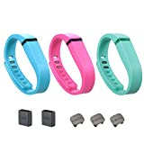 i-smile 3PCS Replacement Bands with Metal Clasps for Fitbit Flex / Wireless Activity Bracelet Sport Wristband / Fitbit Flex Bracelet Sport Arm Band (No tracker, Replacement Bands Only) & Silicon Fastener Ring For Free (Lake blue&Pink&Teal, Small)