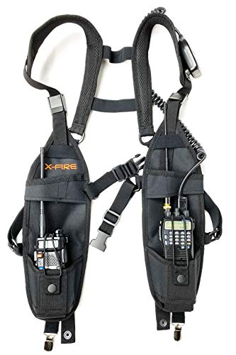 X-FIRE (2-Pack) Radio Vest Chaleco Chest Harness Universal Holder Holster Two Way Portable Radio Walkie Talkie GPS Scanner Police Firefighter EMS EMT SAR Search Rescue Refineries Construction Safety