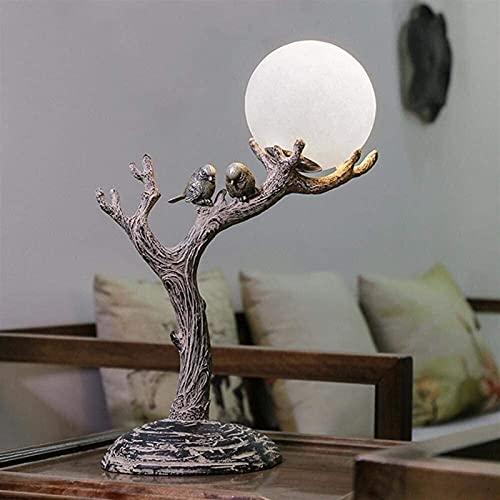 CMMT Lámpara de Mesa Natural, retro, nueva resina natural clásica hecha para estimular la madera Lámpara de escritorio LED, luz de noche LED con luz de bola de vidrio, tronco de árbol y lámparas de pá