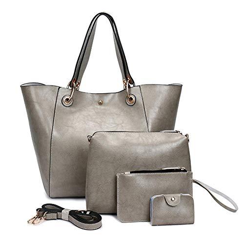 B&H-ERX dames PU lederen schoudertassen Totes handtassen met bijpassende portemonnee portemonnee 4 stuks Set voor vrouwen