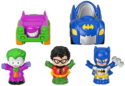 Fisher-Price Little People DC Super Friends Crime Fighting Gift Set, Batman Toy Vehicle and Figure Gift Set for Toddlers and Preschool Kids Ages 1 to 5 Years