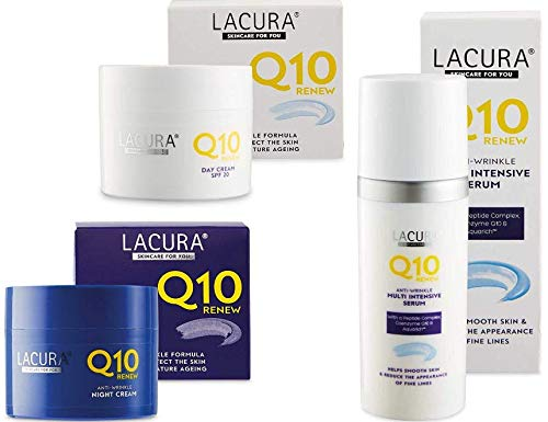 Lacura Q10 Renew Moisturising Face Creams Night plus Day 50 millilitre and Aldi Lacura Renew Q10 Multi Intensive Serum 50 millilitre bundle