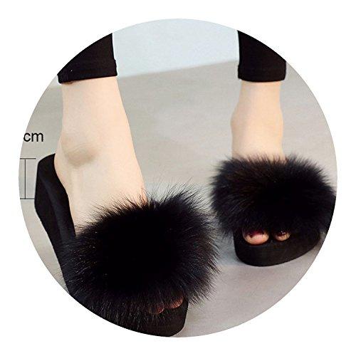 Slippers for Fox Fur Slippers Thick Shoes Wedges Fur Slipper Women,Black 7cm,4