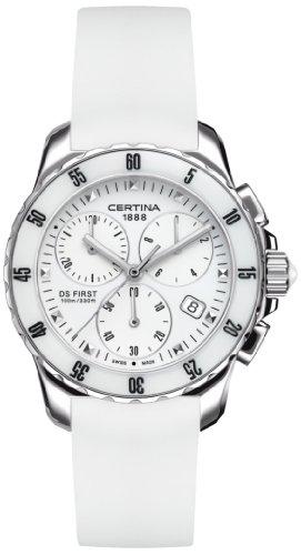 Certina 0 - Reloj de Cuarzo para Mujer, con Correa de Goma, Color Blanco