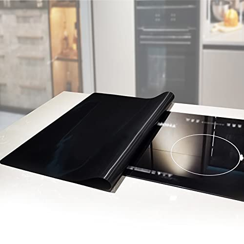 Stove Cover Protector for Electric Glass Washer Dryer Top, Heat Resistant 464℉ on Stovetop Cooktop, Extra Large Waterproof Flat Kitchen Counter Mat for Ceramic Granite Tabletop (36 x 24 Inch, Black)