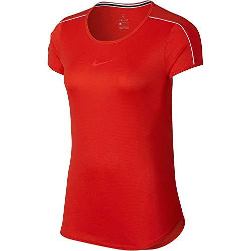 NIKE Camiseta Dry Mujer, Mujer, Camiseta, 939328, Habanero Rojo/Blanco/Borde, S