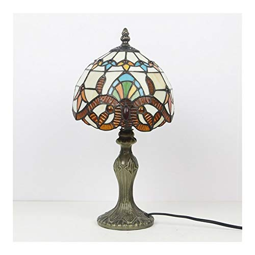 SWL Tiffany Lamp 8Inch Jeweled Style Stained Glass Shade Accent Antique End Bedside Art Table Desk Light.