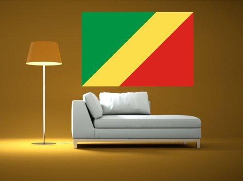 Kiwistar Wandtattoo Sticker Fahne Flagge Aufkleber Kongo, Republik 120 x 80cm