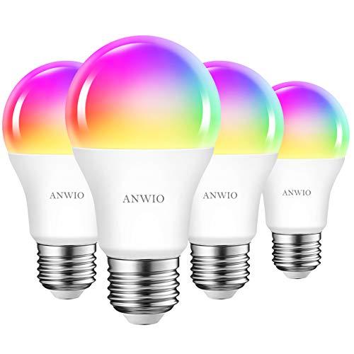 ANWIO WLAN Lampe E27, 10W Intelligente Glühbirne ersetzt 80W, 806 lm, RGB Birnen kompatibel mit Google Home Alexa Echo, dimmbar via Tuya App, 4er Pack