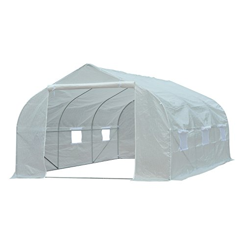 Outsunny Galvanized Metal Frame Walk-In Greenhouse Warm House Garden Tunnel Shelter Plant Shed 450L x 300W x 200H cm