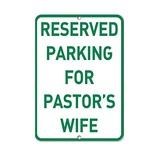 Stevenca Metal Tin Sign Reserved Parking for Pastor's Wife Parking Sign 8''x12'' Decor Aluminum Sign Wall