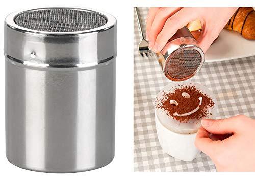 Rosenstein & Söhne Kakaostreuer: Kakao-Streuer aus Edelstahl mit Deko-Schablonen für Cappuccino & Co. (Zuckerstreuer)