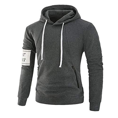 Sudadera con capucha y bolsillo para hombre, con cremallera, para deportes Gris gris oscuro L