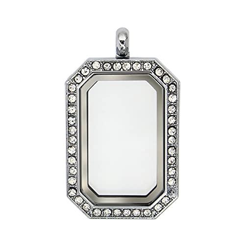 CHENLING Collar de joyería con llavero, dijes de regalo, fotos y collares de mascotas de cristal, medallón flotante de memoria viva para las mujeres cenizas de piedra de nacimiento