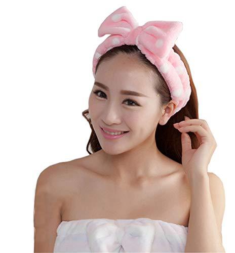 1 pcs Rose Wave point élastique Étirable en flanelle Large Bord Bowknot Bandeau Boucle Cercle support Foulard Face à laver Douche Cheveux Snood pour le maquillage de bain